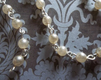 Bead Chain Cream Pearl 4mm Glass Beads on Silver Beaded Chain - Qty 18 inch strand