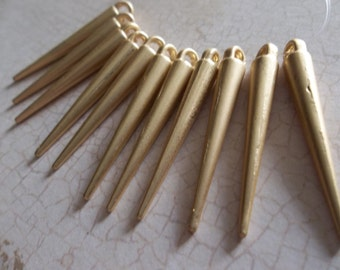 Gold Spikes - Set of Long Gold Metal Spike Pendant Dangles - Qty 11