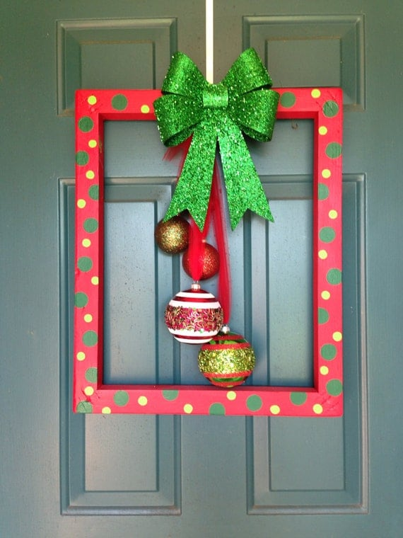 Homemade christmas ornaments picture frames : Items similar to christmas frame door hanger on etsy
