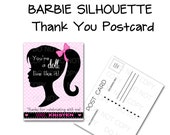 Printable Personalized Barbie Silhouette Thank You Post Card