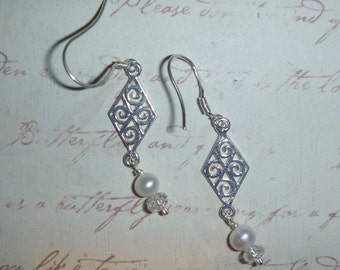 Sterling Silver filigree & pearl and crystal earrings
