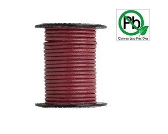Round Leather Cord Rose 2mm 5meters Section
