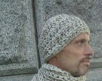 Ear Warmer/Headband, Unisex, Chunky Rib, Wide, Crochet--Oatmeal, Fall, Warm