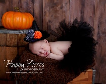 BABY WITCH COSTUME, tutu and mini witch hat, halloween costume size newborn-2T