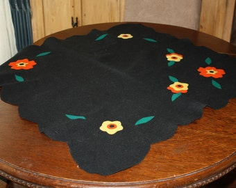 Vintage Felt Tablecloth Centerpiece Black with Orange Yellow Flowers 34 Inches
