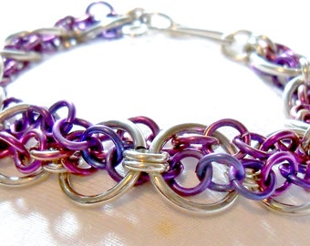 Chainmaille Bracelet Sterling and niobium
