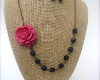 Beaded Flower Necklace Black Jewelry Bridesmaid Gift Pink Necklace Wedding Jewelry