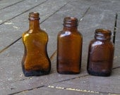 Vintage Amber miniature Elixir Apothecary Bottles. Set of 3- Instant collection glass bottles mini bottle shelf decor home cottage chic