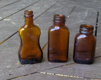 Vintage Amber miniature Elixir Apothecary Bottles. Set of 3- Instant collection glass bottles mini bottle shelf decor home cottage chic