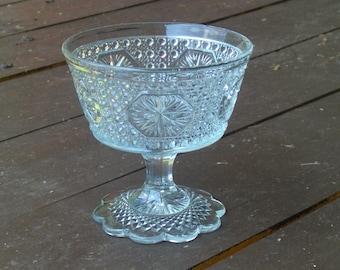 Vintage Lead Crystal Candy Jewelry or Trinket bow. Hobnail & starburst design.