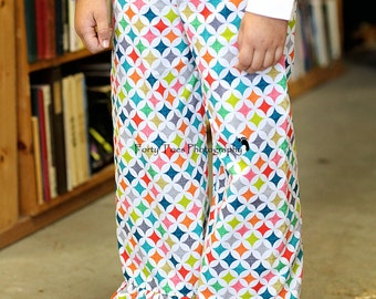 Gorgeous Girls Ruffle Pants - Bright Spring Ruffle Pants - Toddler to Girl Size 10 - Mulit Color ModKid Fabric