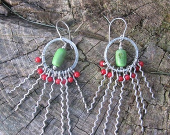 Rising Sun-- Sterling--Turquoise and Coral earrings