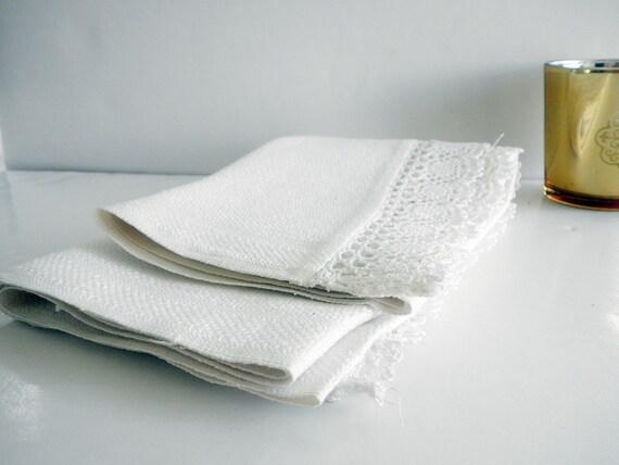 Vintage Linen Tea Towel White Hand Made Crochet Trim