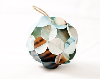 Warm Blue and Brown Handmade Paper Tree Ornament