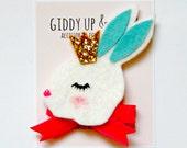 Woodland Hair Clip - Felt Bunny Hair Clip, Giddy Up and Grow, WOODLAND ROYALS