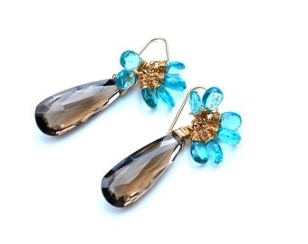 LP 1043  Dazzling  Smoky Quartz And Apatite Earrings