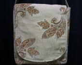 50% Off Heavy Upholstery Purse Large Tan and Gold Brocade Bag Up cycled Gift