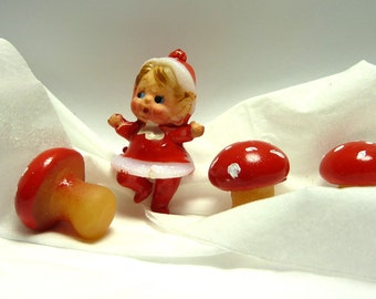 CHRISTMAS PIXIE . . . Santa's Helper and Three Mushrooms . . . perfect decor for your terrarium . . .