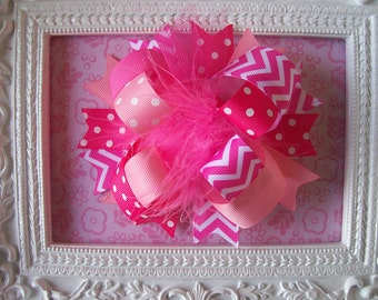 Pink Chevron---Full Size Funky Fun Over the Top Bow----Shades of Pink with Chevron