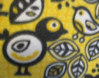 Birds on Yellow with Black Handmade Blanket - Ready to Ship Now