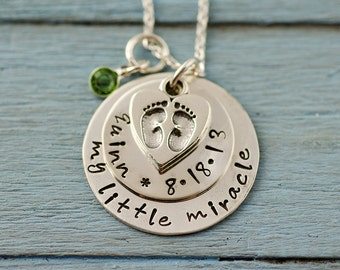 Personalized NEW BABY Necklace with Baby Feet Charm Sterling Silver - New Mom - Newborn
