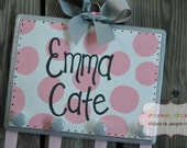 Bow Holder --- Grey and Pink SIMPLICITY Design -  Handpainted and Personalized Hair Bow Holder
