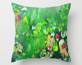 Throw Pillow Artwork printed on Pillow Unique Green Abstract Throw Pillow