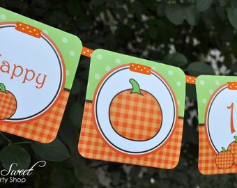 Pumpkin 1st Birthday MINI Banner - Halloween Birthday Party Decorations, Little Pumpkin