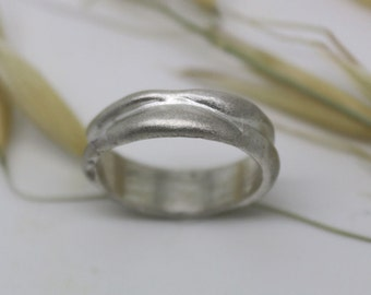 Unique wedding ring, men's or women's wedding ring, Wavy silver band, modern wedding or promise band made to order