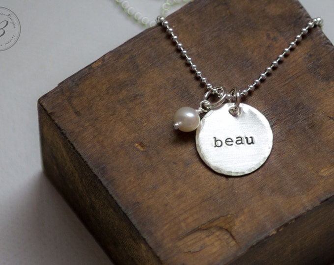 One Name Hand Stamped Jewelry Mothers Necklace Sterling Silver with Birthdate Double Sided by Betsy Farmer Designs