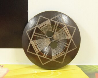 Brown Wooden Buttons - Japanese Style Geometry Flower Pattern Brown Wood buttons. 0.79 inch, 10 pcs