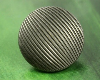 Metal Buttons - Linear Stripe Metal Buttons , Gunmetal Color , Shank , 0.79 inch , 10 pcs