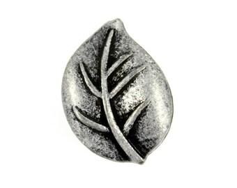 Leaf Metal Buttons , Antique Silver Color , Shank , 0.71 inch , 2 pcs