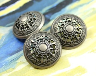 Metal Buttons - Medieval Filigree Metal Buttons , Nickel Silver Color , Domed , Openwork , Shank , 0.87 inch , 10 pcs