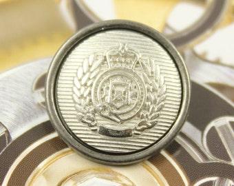 Metal Buttons - Silver Crest Emblem Metal Buttons , Gunmetal Base , Shank , 0.91 inch , 6 pcs