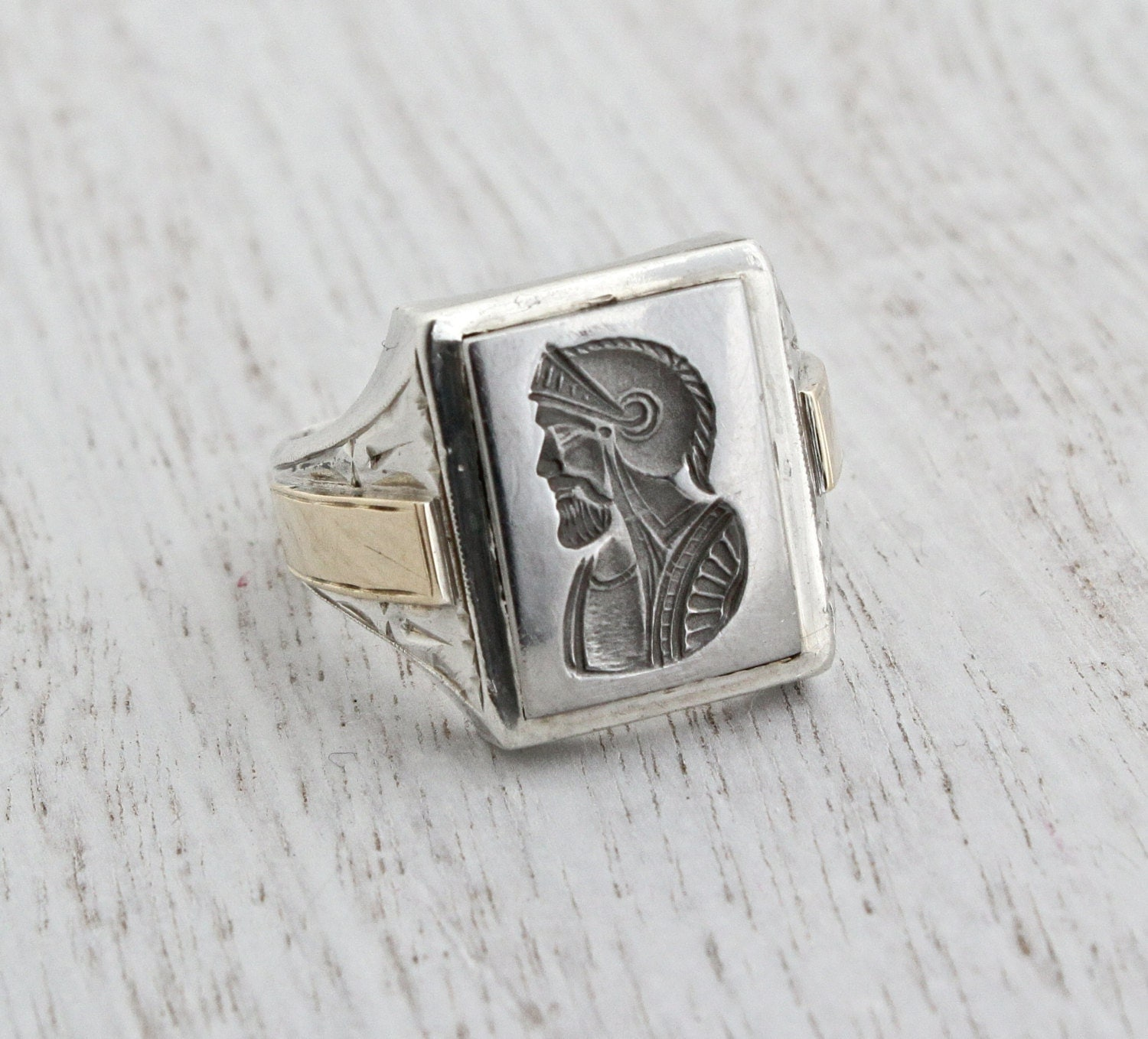 Vintage Sterling Silver Amp 10k Yellow Gold Cameo Ring Mens