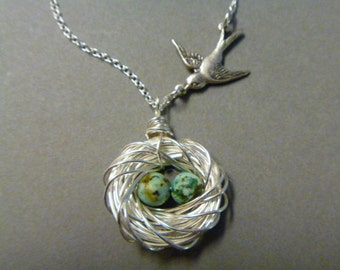 Bird Nest Necklace - Bird Jewelry - Family of Birds - Silver - Mother's Day Gift - Mother of the Bride - Mommy Necklace - femmart