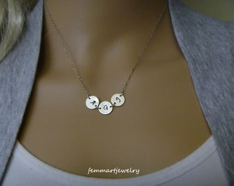 """Three two one Initial Necklace - Sterling Silver - Gold Filled - Disc 3/8"""" - Friendship - Family - Grammy Necklace - Couple - Mommy Necklace"""