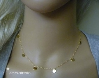 Gold coin necklace, 14K Gold Filled chain, celebrity inspired, mini tiny coins, little discs, great for layering