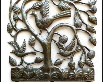Metal Towel Hook - Birds - Flowers Metal Wall Hook - Metal Wall Hanging - Metal Wall Decor - Haitian Recycled Steel Drum Wall Decor -2000-HK