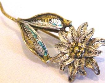 Vintage Sterling Silver & Enamel Filigree Floral Italian Brooch Pin