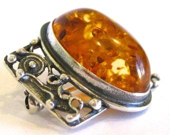 Vintage Baltic Amber Sterling Silver Filigree Mad Men Brooch Pin