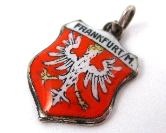 Vintage 40s 800 Silver & Enamel Frankfurt Germany Travel Shield Bracelet Charm