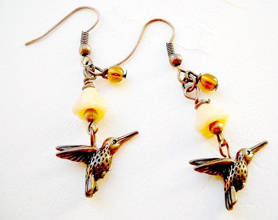 Hummingbird - Beaded Dangle Earrings