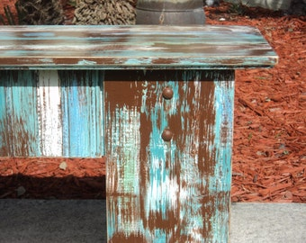 Distressed And Weathered Bench, Beach-y Furniture, Country Cottage Decor
