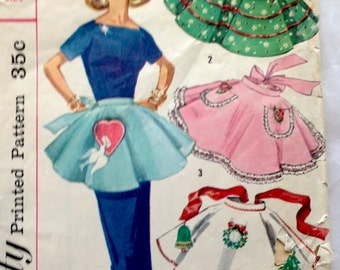 50s Simplicity 1846 Holiday Half Hostess Apron with Transfers - One Size