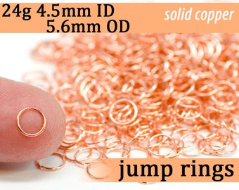 24g 4.5 mm ID 5.6 mm OD copper jump rings -- 24g4.50 open jumprings links