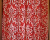 SALE Window Curtain Coral Damask 25 x 63