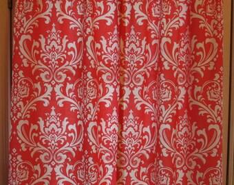 SALE Window Curtain Coral Damask 25 x 63