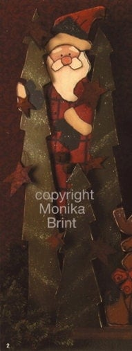 Santa with Trees-EPATTERN-DIY-Painting-Santa-Primitive Santa-Woodworking-Christmas Decor